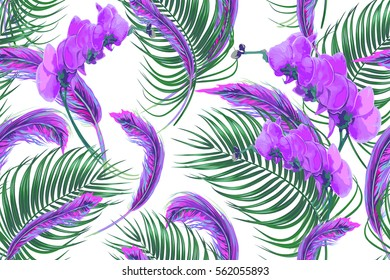 Tropical flowers, palm leaves, purple orchid flower, feathers seamless pattern background in boho style. Vector floral illustration