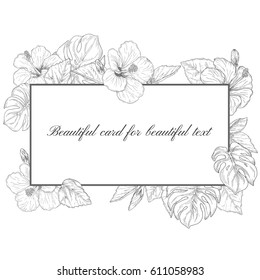 Tropical flowers and palm leaves with rectangle frame, hand drawn monochrome botanical floral on white background. Vintage vector illustration.