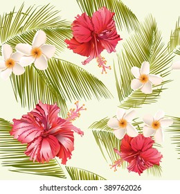 Tropical flowers and palm leaves seamless pattern.Design for cosmetics, spa salon, summer background. Best for fabric design, textile, wrapping paper, scrapbook, wallpaper . Vector illustration