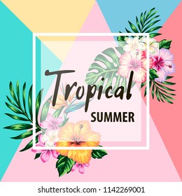 tropical flowers and palms summer banner graphic background exotic floral invitation flyer