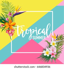 Tropical Flowers and Palms Summer Banner, Graphic Background, Exotic Floral Invitation, Flyer or Card. Modern Front Page in Vector
