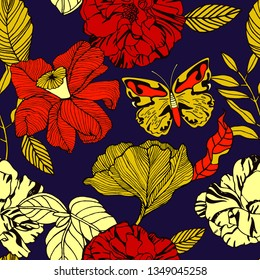 Tropical flowers and plants, exotic print.