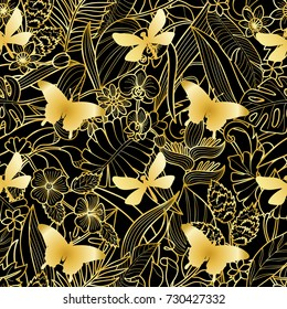 Tropical flowers, plants with golden silhouette butterfly and dragonfly seamless pattern. Floral gold square wallpaper on black background for greeting cards, luxury mock ups.