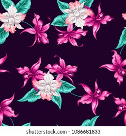 Tropical flowers pretty pattern. Seamless orchids background. Use for textile, dress, wallpaper, home design. Liberty style
