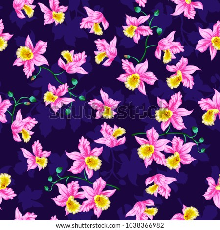 Tropical flowers pretty pattern seamless orchids stock vector tropical flowers pretty pattern seamless orchids background use for textile dress wallpaper mightylinksfo