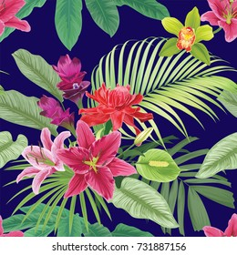 Tropical flowers seamless pattern with leaf on dark blue background. Vector set of exotic tropical garden for wedding invitations, greeting card and fashion design.