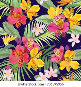 Tropical flowers seamless pattern with leaf on dark purple background. Vector set of exotic tropical garden for wedding invitations, greeting card and fashion design.