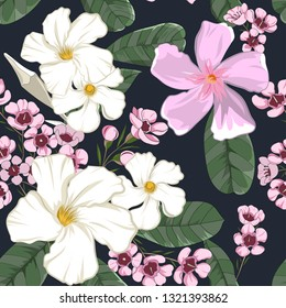 tropical flowers seamless pattern in vector illustration