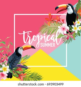Tropical Flowers and Toucan Birds Summer Banner, Graphic Background, Exotic Floral Invitation, Flyer or Card. Modern Front Page in Vector