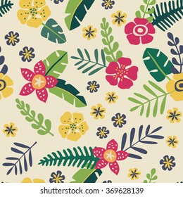 Tropical flowers - vector seamless pattern