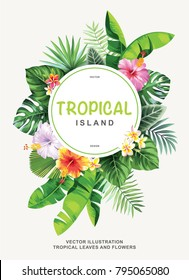 Tropical flyer with palm leaves and exotic flowers. Round frame. Vector illustration.