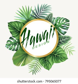 Tropical flyer with palm leaves. Round frame. Vector illustration.