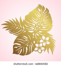 Tropical foliage lasercut pattern. Palm leaves and Hawaiian flowers paper cut summer vector. Tropical botany vector place mat for lazer cutting.