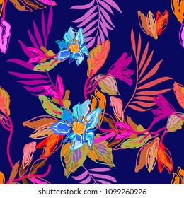Tropical forest colors. Seamless floral pattern with digital art elements. Palm leaves and exotic flowers.  Colorful on purple background.