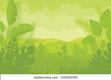 Tropical Forest Landscape with light green color flat vector design