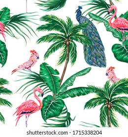 Tropical forest with palm trees, jungle banana leaves, peacock, parrot bird, pink flamingo, vector floral seamless pattern on white background. Botanical exotic illustration wallpaper