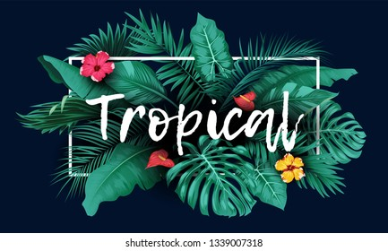 Tropical forest with rectangle frame on blue background