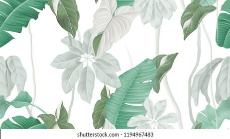 Tropical forest seamless pattern, banana leaves, Syngonium podophyllum albo-variegatum and Schefflera arboricola or umbrella tree on white background, pastel vintage theme
