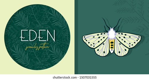 Tropical forest. White ermine moth. Rainforest. Exotic plants. Branches and leaves. Color trend palette. Eden. Shade of green. Fashion color.