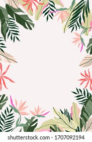 Tropical frame background. Modern Hawaiian card, banner template. Exotic branches and flowers. Botanical frame vector illustration. Jungle border had-drawn design.
