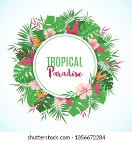 Tropical frame with exotic tropical leaves, palm tree, monstera and flowers in hand drawn style. Floral border template. Vector illustration.