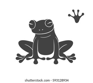 Tropical frog. Isolated frog on white background. EPS 10. Vector illustration