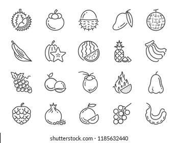 Tropical fruit icon set. Included icons as durian, mango, banana, longan, pineapple and more.