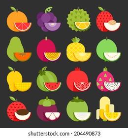 Tropical fruit icon set, vector