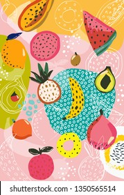 Tropical fruit pattern, food print,  abstract backdrop, jungle background, vector illustration