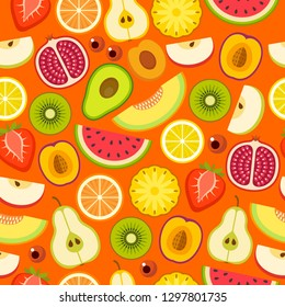 Tropical fruit seamless pattern on the orange background. Vector illustration