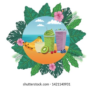 tropical fruit and smoothie drink with banana cluster, kiwi, cherries and bluberries icon cartoon in round icon with leaves in the frame and seascape vector illustration graphic design