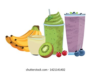 tropical fruit and smoothie drink with banana cluster, kiwi, cherries and bluberries icon cartoon vector illustration graphic design