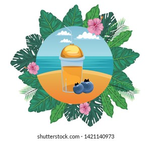 tropical fruit and smoothie drink with bluberries icon cartoon in round icon with leaves in the frame and seascape vector illustration graphic design