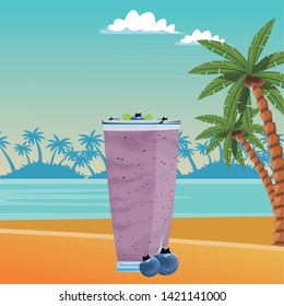 tropical fruit and smoothie drink with bluberries icon cartoon over the beach with sea landscape vector illustration graphic design