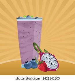 tropical fruit and smoothie drink with bluberries, strawberry and pitahaya icon cartoon vector illustration graphic design