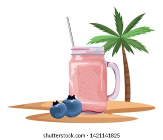 tropical fruit and smoothie drink with bluberries icon cartoon over sand with palm background vector illustration graphic design
