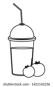 tropical fruit and smoothie drink with bluberries icon cartoon in black and white vector illustration graphic design