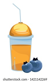 tropical fruit and smoothie drink with bluberries icon cartoon vector illustration graphic design