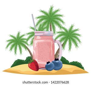 tropical fruit and smoothie drink with bluberries and strawberry icon cartoon over the beach with palms vector illustration graphic design