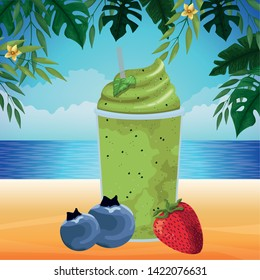 tropical fruit and smoothie drink with bluberries and strawberry icon cartoon over the beach with seascape vector illustration graphic design