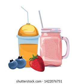 tropical fruit and smoothie drink with bluberries and strawberry icon cartoon vector illustration graphic design