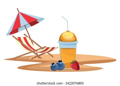 tropical fruit and smoothie drink with bluberries and strawberry icon cartoon with beach chair and umbrella on the sand vector illustration graphic design