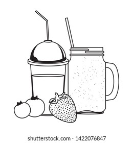 tropical fruit and smoothie drink with bluberries and strawberry icon cartoon in black and white