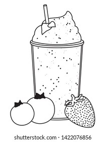 tropical fruit and smoothie drink with bluberries and strawberry icon cartoon in black and white vector illustration graphic design