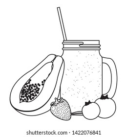 tropical fruit and smoothie drink with papaya, bluberries and strawberry icon cartoon in black and white vector illustration graphic design