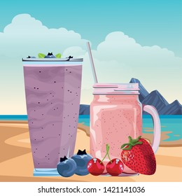tropical fruit and smoothie drinks with cherries, bluberries and strawberry icon cartoon over the beach with sea landscape vector illustration graphic design