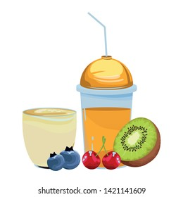 tropical fruit and smoothie drinks with kiwi, cherries and bluberries icon cartoon vector illustration graphic design
