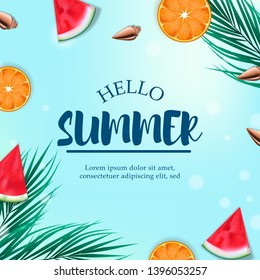 Tropical fruit summer watermelon and orange from top view square banner poster template - Shutterstock ID 1396053257