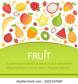 Tropical fruits banner, summer background with tropical, exotic, garden fruits and space for the text, element for logo, farmers market, organic food vector illustration