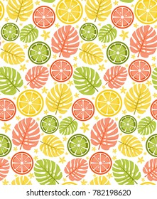 tropical fruits colorful pattern